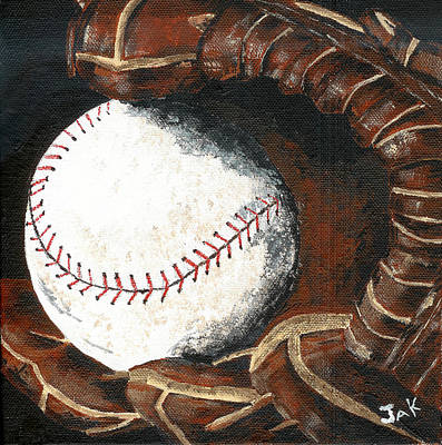 Mitt Painting - Mitt And Ball by Jean Kostal