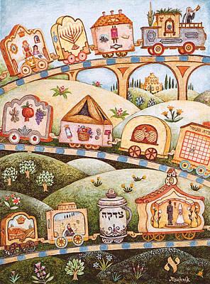 Jerusalem Painting - Mitzvah Train - Jewish Months by Michoel Muchnik