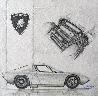Automotive Drawing - Miura by Kelly  Bremer