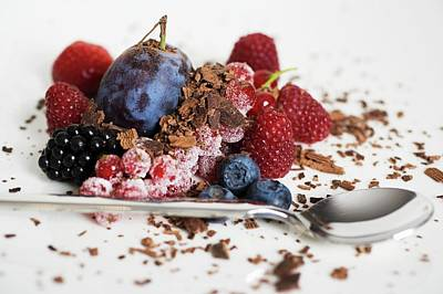Grate Photograph - Mixed Berries With Chocolate Shavings by Foodcollection
