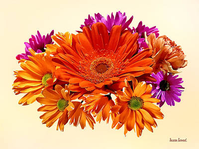 Chrysanthemum Photograph - Mixed Bouquet With Gerbera Daisy And Mums by Susan Savad