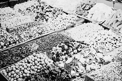 mixed coated nuts for sale inside the la boqueria market in Barcelona Catalonia Spain Art Print by Joe Fox