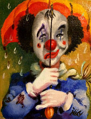 Sad Clown Painting - Mixed Emotion by Niky Parks