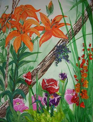 Tiger Lily Mixed Media - Mixed Garden by Darlene Duguay