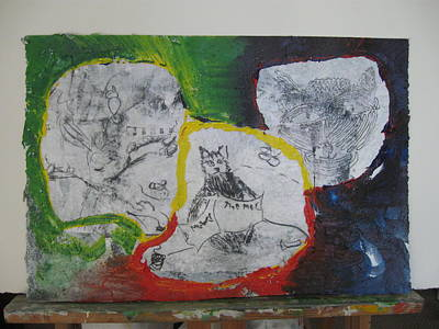 Mixed Media - Mixed Media Class Three With Cats by AJ Brown
