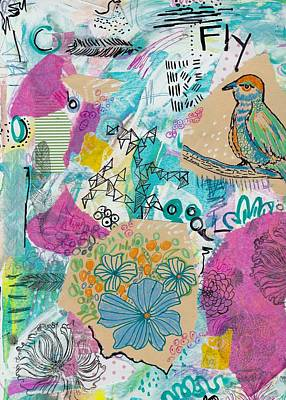 Mixed Media - Mixed Media Flower Bird Painting by Rosalina Bojadschijew