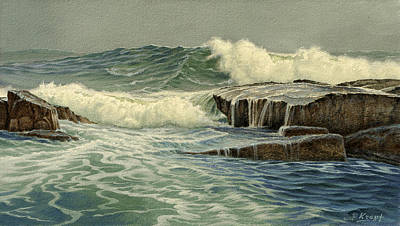 Surf Painting - Mixed Media Seascape by Paul Krapf