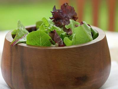 Mixed Salad Leaves In A Wooden Bowl Art Print