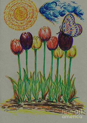 Bright Colours Drawing - Mixed Tulips by Teresa White