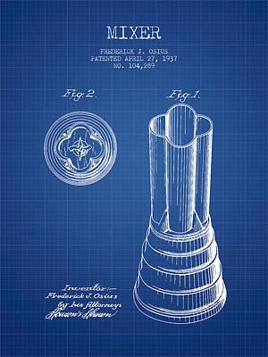 Martinis Digital Art - Mixer Patent From 1937 - Blueprint by Aged Pixel