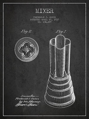 Shakers Drawing - Mixer Patent From 1937 - Dark by Aged Pixel