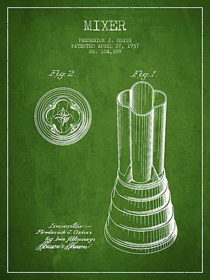 Martinis Digital Art - Mixer Patent From 1937 - Green by Aged Pixel