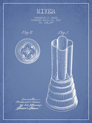 Martinis Digital Art - Mixer Patent From 1937 - Light Blue by Aged Pixel