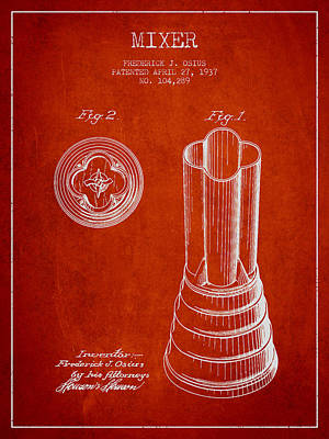 Martinis Digital Art - Mixer Patent From 1937 - Red by Aged Pixel