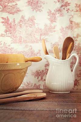 Photograph - Mixing Bowls With Rolling Pin On Wooden Table by Sandra Cunningham