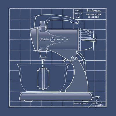 Drawing - Mixmaster - Blueprint by Larry Hunter