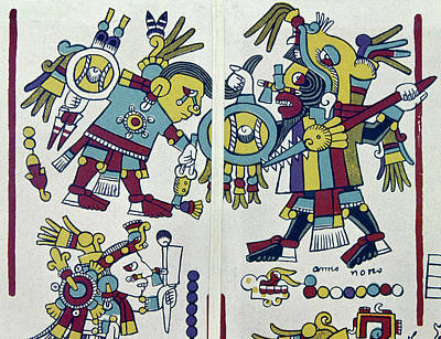 Native American Symbols Painting - Mixtec King & Prisoner by Granger