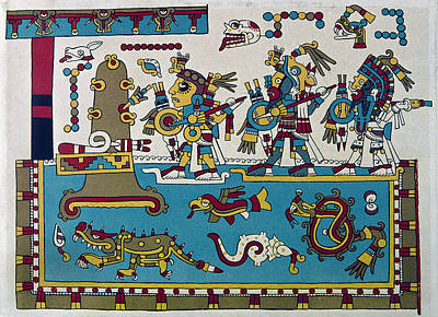 Pictograph Painting - Mixtec Warriors by Granger