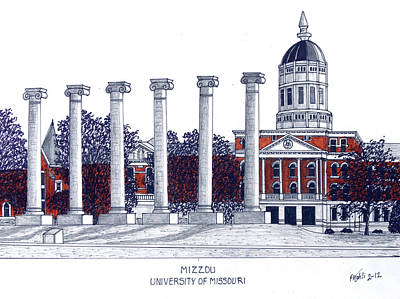 University Drawings Drawing - Mizzou - University Of Missouri by Frederic Kohli