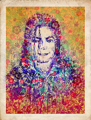 Jackson 5 Painting - Mj Floral Version 3 by Bekim Art