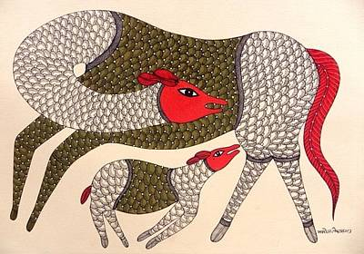 Gond Tribal Art Painting - Mkt 127 by Manoj Kumar Tekam