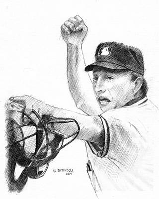 Drawing - Mlb Umpire  Phil Cuzzi by Al Intindola