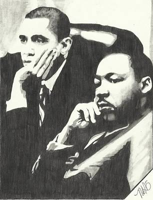 Barack Obama Drawing - Mlk And President Obama by Pics By Nick