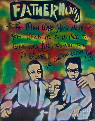 Conscious Painting - Mlk Fatherhood 1  by Tony B Conscious
