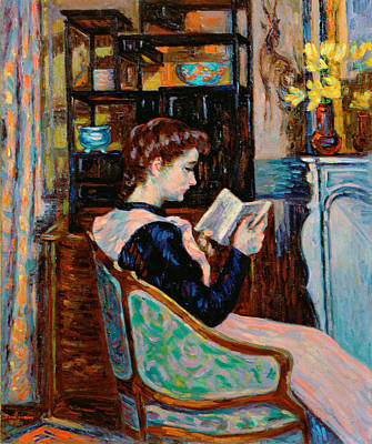 Literature Painting - Mlle Guillaumin Reading by Jean Baptiste Armand Guillaumin