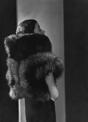 Mlle. Koopman Wearing A Fur Jacket Art Print by George Hoyningen-Huene