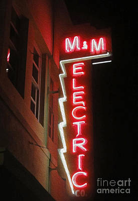 Mm Electric Sign At Night Art Print by Gregory Dyer