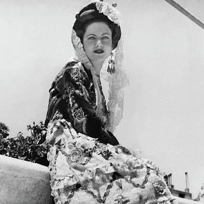 Photograph - Mme. M. Boti Wearing A Greek Wedding Dress by Horst P. Horst
