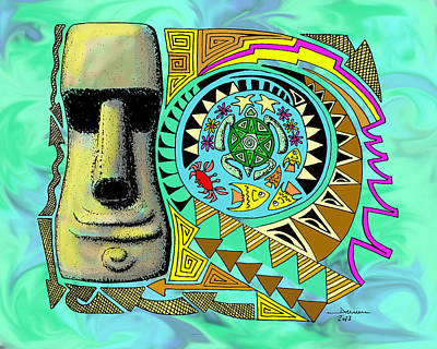 Hawaii Sea Turtle Digital Art - Moai And Turtle - Circle Of Life by Aaron Bodtcher