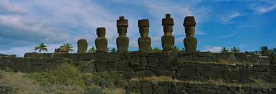 In A Row Photograph - Moai Statues In A Row, Rano Raraku by Panoramic Images