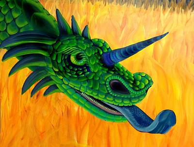 Licking Painting - Mobeeus Dragon by Elizabeth Criss