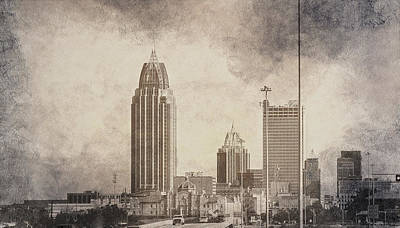 Mobile Alabama Black And White Art Print