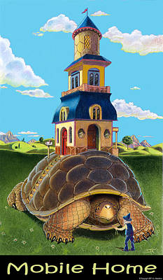 Turtle Mixed Media - Mobile Home With Caption by J L Meadows