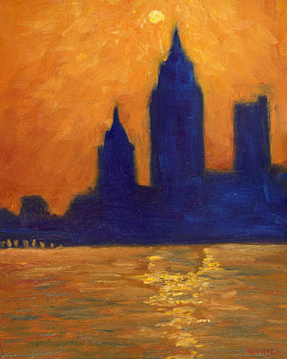 Mobile Skyline Late Evening Art Print by Vernon Reinike