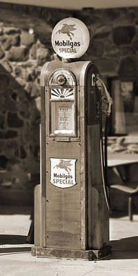 Gas Pump Wall Art - Photograph - Mobilgas Special - Wayne Pump - Sepia by Mike McGlothlen
