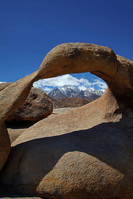 Mobius Arch, Alabama Hills, And Snow Art Print by David Wall
