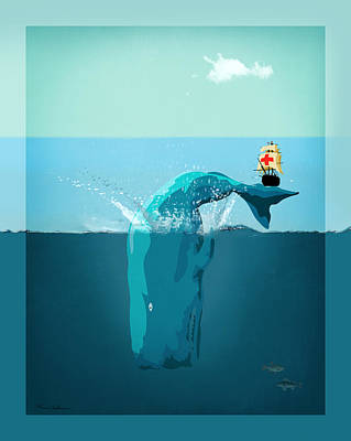 Sea Life Digital Art - Moby Dick by Mark Ashkenazi