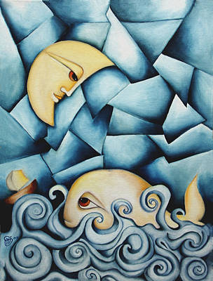 Painting - Moby Dick The Daughter Of The Moon  by Simona  Mereu