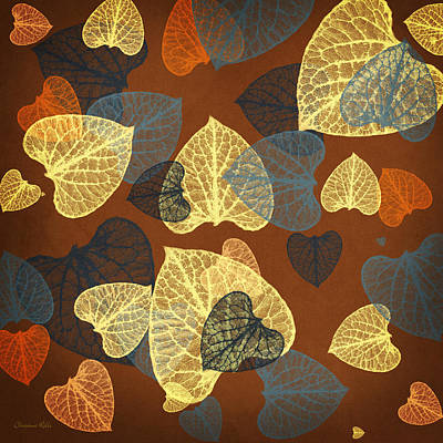 Tapestries - Textiles Mixed Media - Mocha Abstract Leaves Square by Christina Rollo