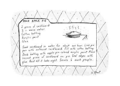 Batting Drawing - Mock Apple Pie Recipe by Roz Chast