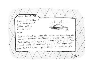 Mock Apple Pie Recipe Art Print