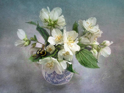 Print featuring the photograph Sweet Mock Orange Blossom Bouquet With Bumble Bee  by Louise Kumpf