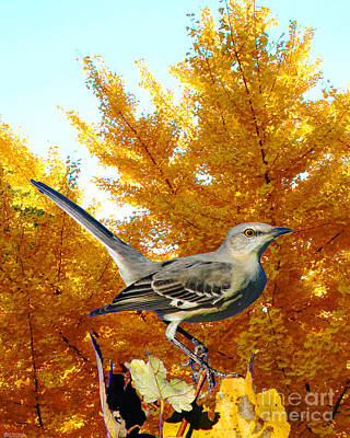 Mockingbird Digital Art - Mockingbird In The Gingkos by Lizi Beard-Ward