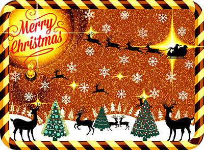 Mod Cards - Reindeer Games - Merry Christmas V Art Print