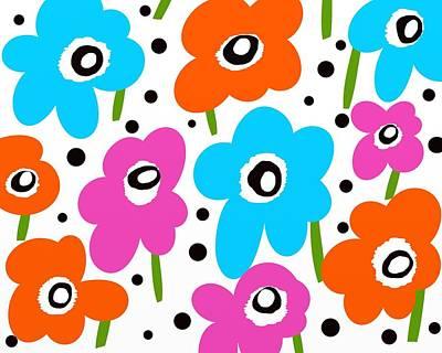 Mod Dot Flowers Art Print by Marlene Kaltschmitt