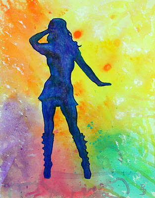 Painting - Mod Girl Female Silhouette Abstract by Bob Baker